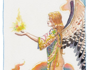 Female Ange in the clouds, and Divine energy
