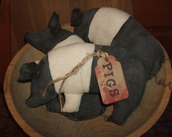 Primitive Pigs Folk Art Trio of Bowl Filler Ornies Rustic Country Style Decor, OFG HAFAIR Teams