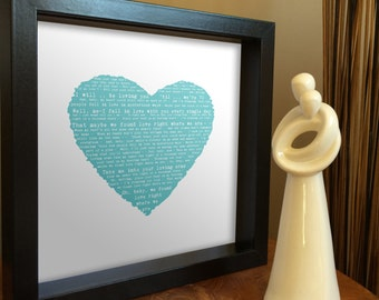 Anniversary gift for her - FRAMED SONG WORDS - or poem, wedding vows, any text - plus personalised message - ideal gift for wedding