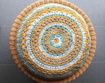 Around crochet and made with love pillow
