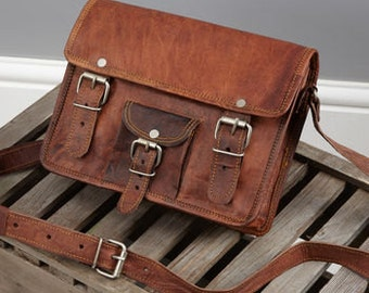 Leather Satchel With Front Pocket By Vida Vida