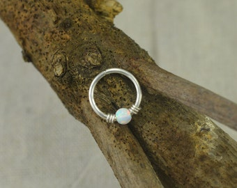 opal nose ring,septum nose ring,nose hoop,sterling silver nose ring