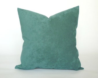 "Vintage Blue, Teal Microfiber Pillow Cover, Decorative Throw Pillow, Accent Pillow, Pillow Sham, Slip Cover, 14x14"", 16x16"", 18x18"""
