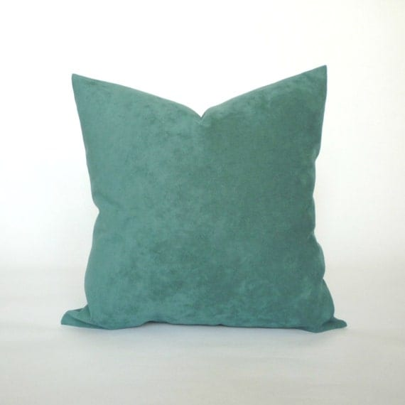 Burgundy Microfiber Throw Pillows : Vintage Blue Teal Microfiber Pillow Cover Decorative Throw