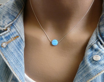 Opal coin necklace, Opal necklace, Blue opal necklace, Sterling silver necklace, Disc necklace, Opal jewelry