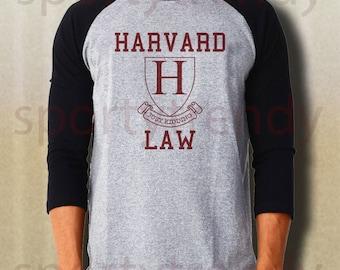 Harvard law just kidding baseball tee harvard shirt gray IDAA