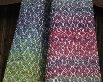 Handspun, handwoven silk and merino wool scarf in rainbow