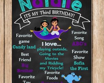 Aladdin, Princess Jasmine Birthday Chalkboard