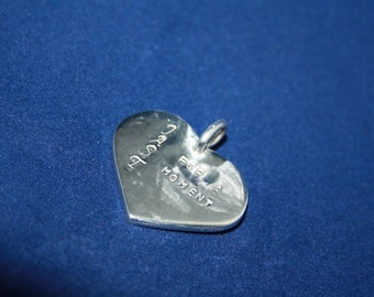 Charm Silver Heart Individual Text