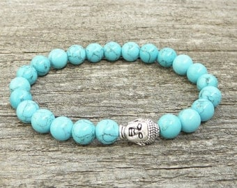 Turquoise Howlite Bracelet Womens Bracelet Bead Bracelet Gemstone Bracelet Mens Stone Bracelet Womens Stretch Yoga Bracelet Gifts for her