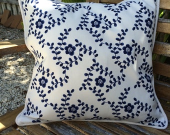 Scandinavian Designed Pretty Blue Flower Cushion Cover