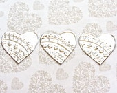 10 Mini Hearts, DIY Wedding Decor, Wedding Reception Decoration, Embossed Metal, Gift Tags