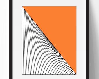 Geometric print, abstract art print, tangerine print, black and orange print, geometric art, orange wall decor, instant download, 8x10 print