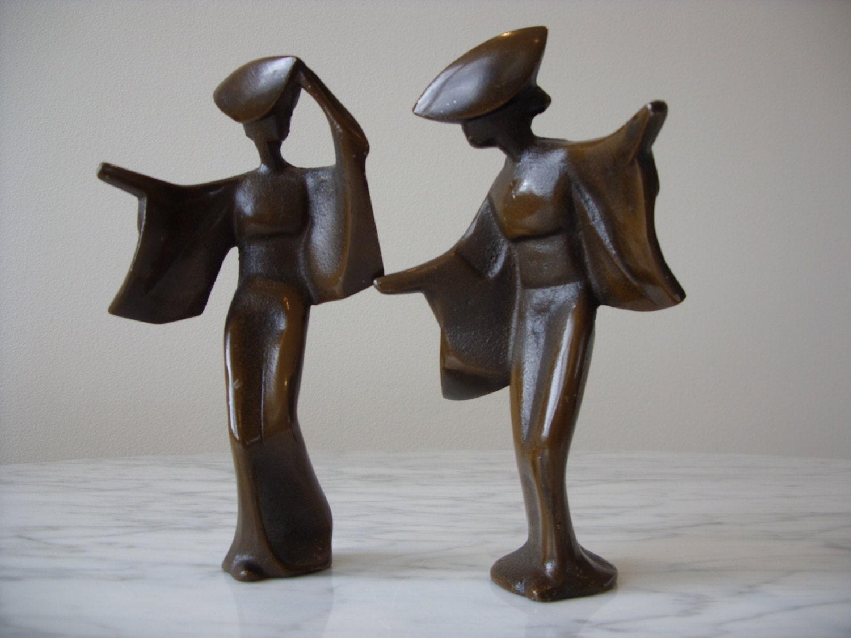 modern figurines - vintage bronze japanese geisha figurines mid century modern