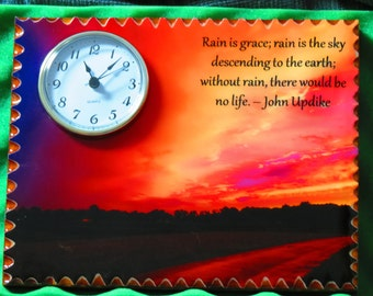 Scenic photo on a wood plaque with a clock