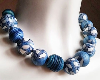 handcrafted beads Necklace blue