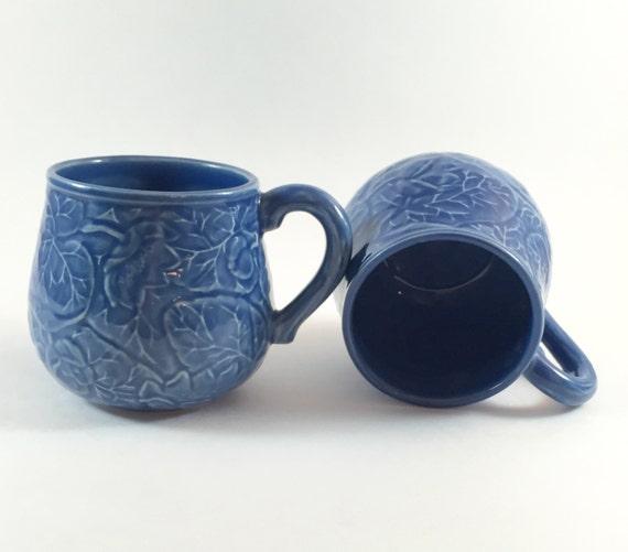 Bordallo pinheiro portugal blue majolica coffee mugs - Bordallo pinheiro portugal ...