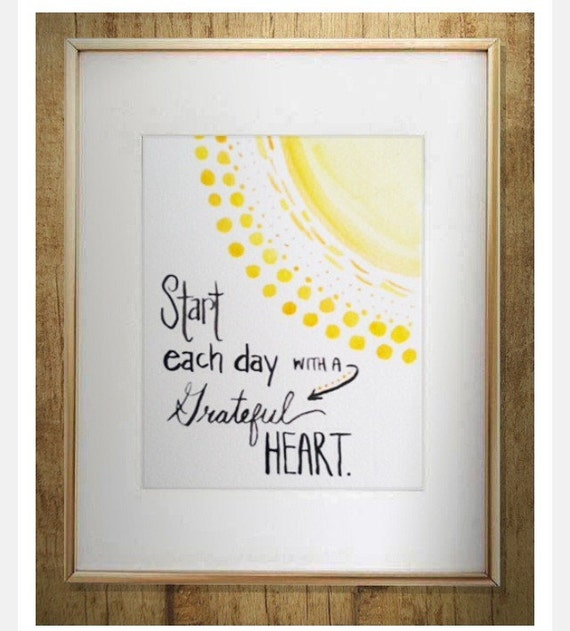 Nursery Decor - Gratitude quote  - Watercolor Quote - home decor - wall art - gratitude mantra - sunshine