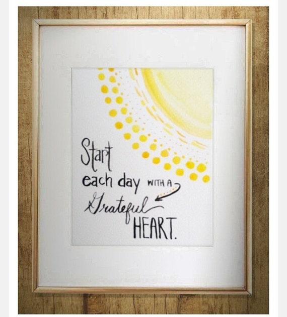 Nursery Decor - Gratitude quote  - Watercolor Quote - home decor - wall art - gratitude mantra - sunshine