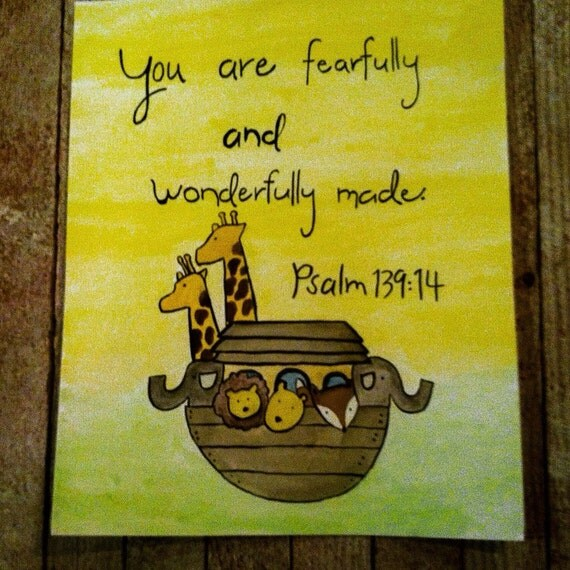 nursery art - 8x10 Noah's Ark with Psalm 139:14 - you are fearfully and wonderfully made