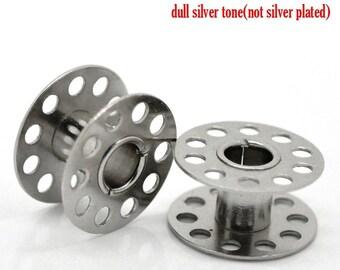 "30PCs Silver Tone Sewing Machine Bobbin 21mmx11mm ( 7/8""x 3/8"")"