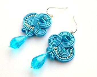 Blue earrings, dangle earrings, Boho earrings,crystal earrings, statement earrings, soutache earrings, embroidered earrings, fantasy jewelry