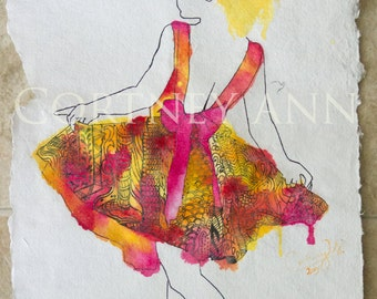 Original watercolor and ink painting on handmade paper; Girl in Flames