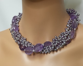 Stunning Amethyst Fresh Water Pearl & Swarovski Crystal Sterling 925 Silver Collar Necklace A Statement Piece