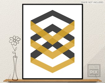 Yellow Chevrons Wall Art, Mustard Wall Art, Yellow and Black Wall Prints, Chevron Wall Art, Dark Gray Chevron Wall Print, Chevron Wall Decor