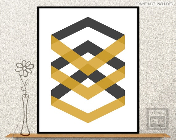Yellow Black And Gray Wall Decor : Yellow chevrons wall art mustard and black