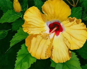 Watercolor painting...SUNNY DELIGHT...hibiscus...giclee
