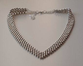 Silver beaded bib / statement necklace