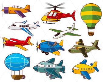 Digital Airplane Clipart Airplane Clip Art Hot Air Balloon Clipart Boy Scrapbooking Boy's Toy Airplane Scrapbooking Supplies 0018