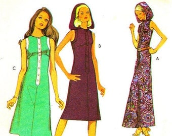 """1970s Long Maxi Hooded Dress in three lengths Style Vintage Sewing Pattern 3178 from 1971 Size 14 Bust 36"""""""