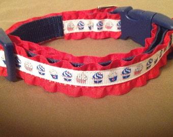 5/8 Wide Custom Made Adjustable Patriotic Ruffled Dog Collar