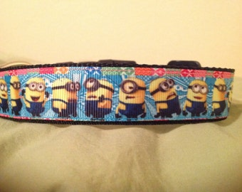 1 Inch Wide Custom Made Adjustable Minnons Theme Dog Collar