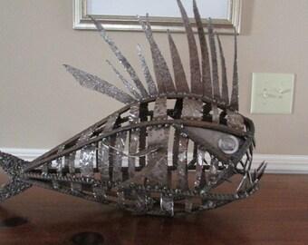 LCMetalAndWood/Scrap Metal Fish/ Metal Fish/ Metal Art/ Woodworking/FRANKENFISH/ Scrap Metal Art