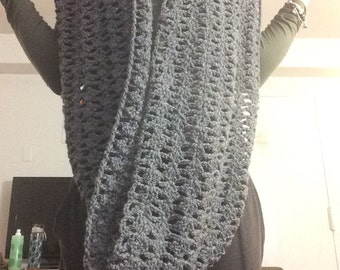 Gray Infinity Scarf with Buttons