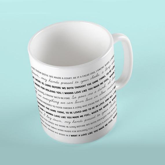 Coffee Mug 18 Lyrics Mug - One Direction