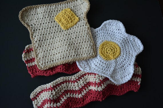 PATTERN Bacon Eggs and Toast Crochet - All 3 available in one download! Delicious Dishcloth Patterns