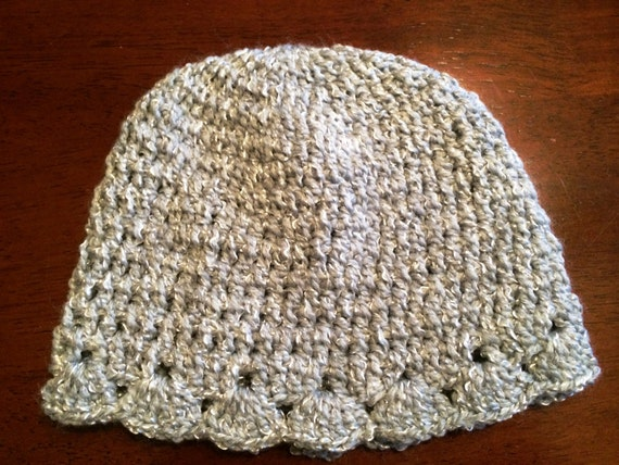 Baby Hat - Gray with Tinsel Thread