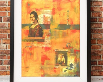 Print of Original acrylic collage painting entitled Listen orange yellow red industrial rustic print LIS9387