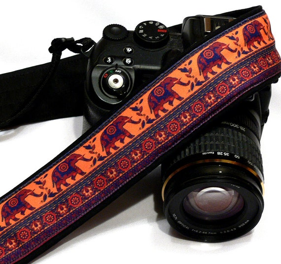 Lucky Elephants Camera Strap. Original Camera Strap.  DSLR Camera Strap. Canon, Nikon Camera Strap. Women Accessories
