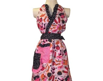 1950s Marilyn Monroe Style Halter Apron - available in pink shoe theme and black/white polka dots