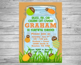 Bug Birthday Party Invitation, Insect Birthday Party Invitation, Printable Bug Birthday Invitation, Printable Insect Birthday Invitation