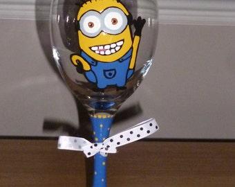 Hand Painted Minion Wine Glass