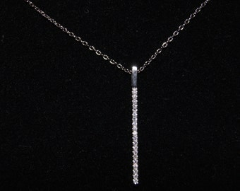 Sterling Silver Bar CZ Necklace