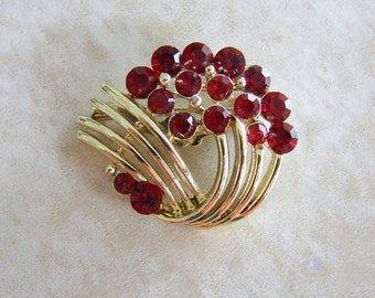 Goldtone Red Rhinestone Pin Brooch Unsigned