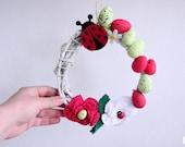 Spring Easter Wreath Crochet Flowers Decor Ladybug Ladybird Decoration Easter Eggs Handmade Vine Wreath