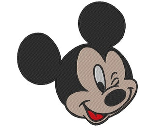 Mickey Mouse winking Stitch Embroidery design. 4 Sizes.